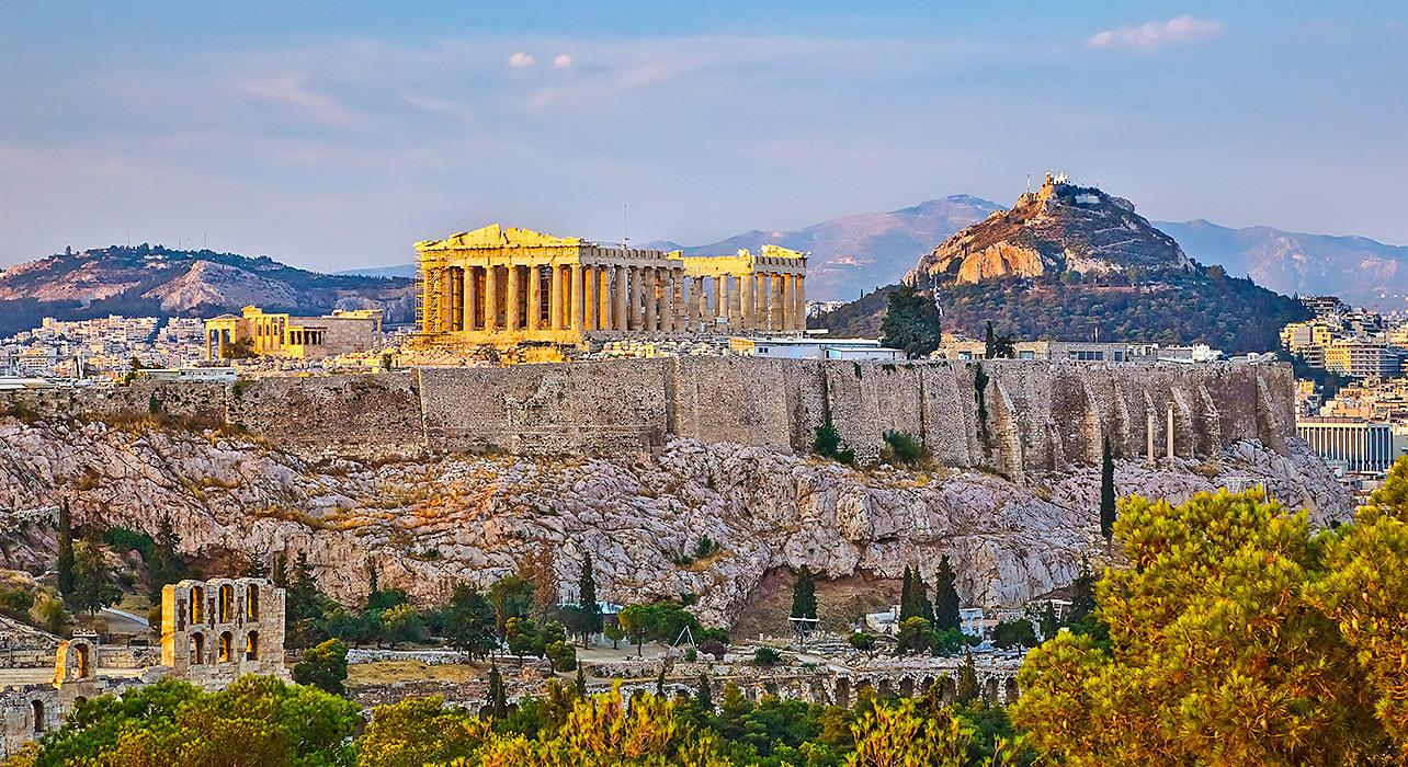 greece athens ruins sunset