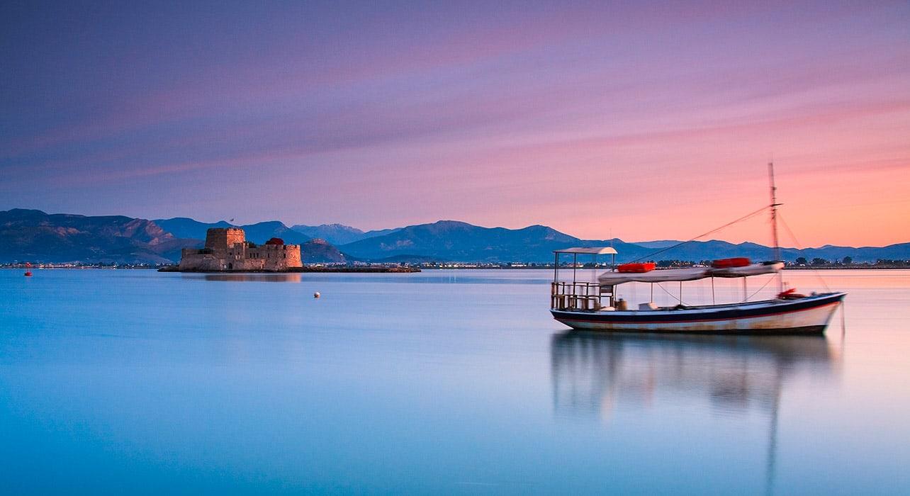 nafplio greece twilight boat