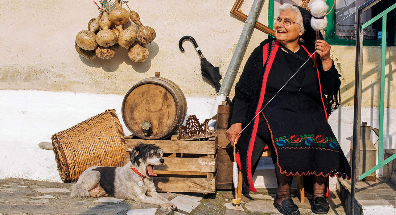 greece zagoria meteora woman dog