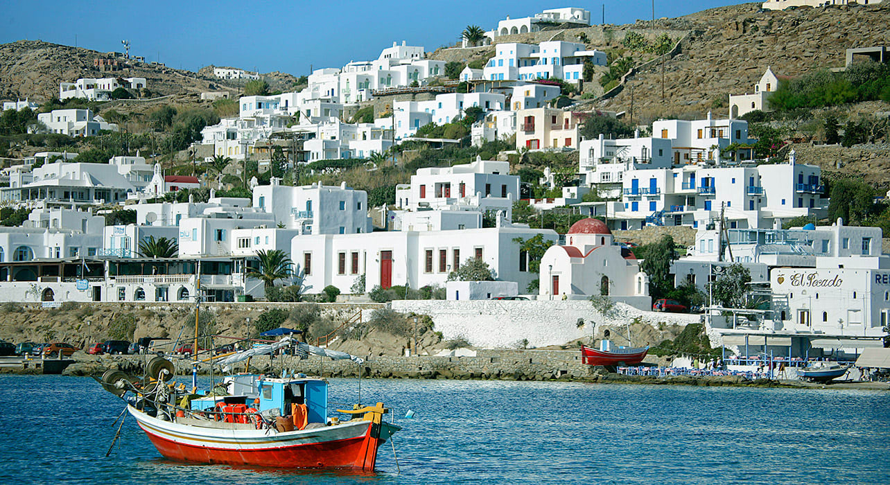 greece seaside white coastal village houses