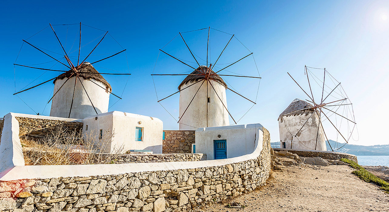 greece mykonos windmills