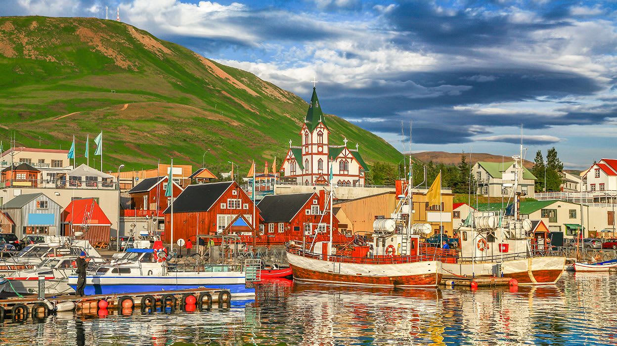 northern iceland husavik harbor colorful buildings