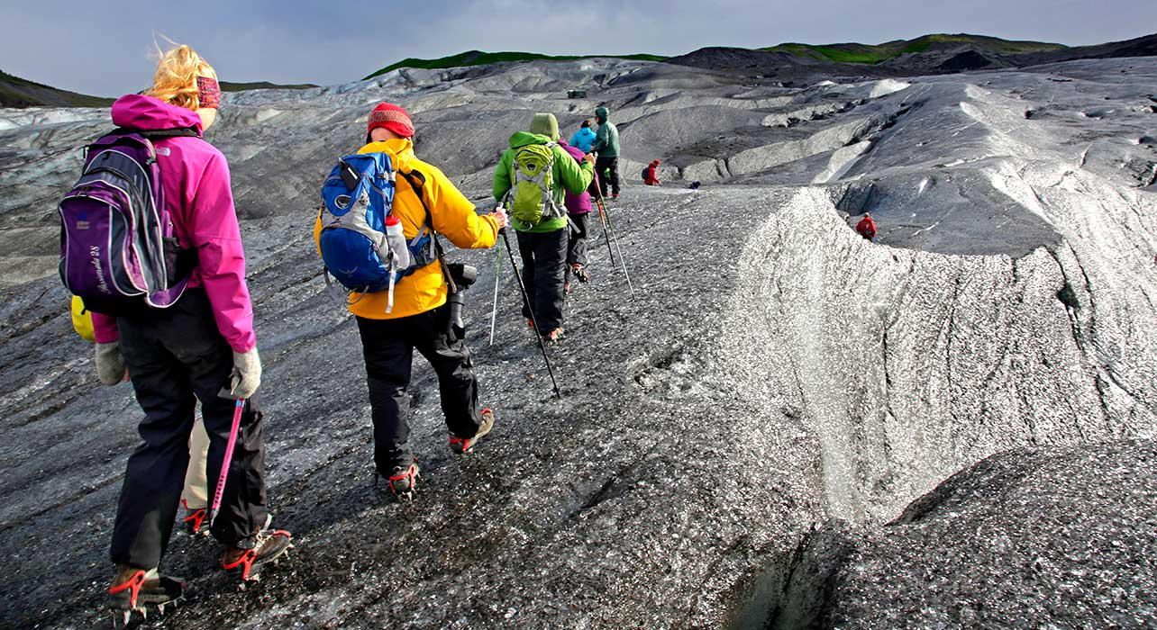 iceland hikers on glacier