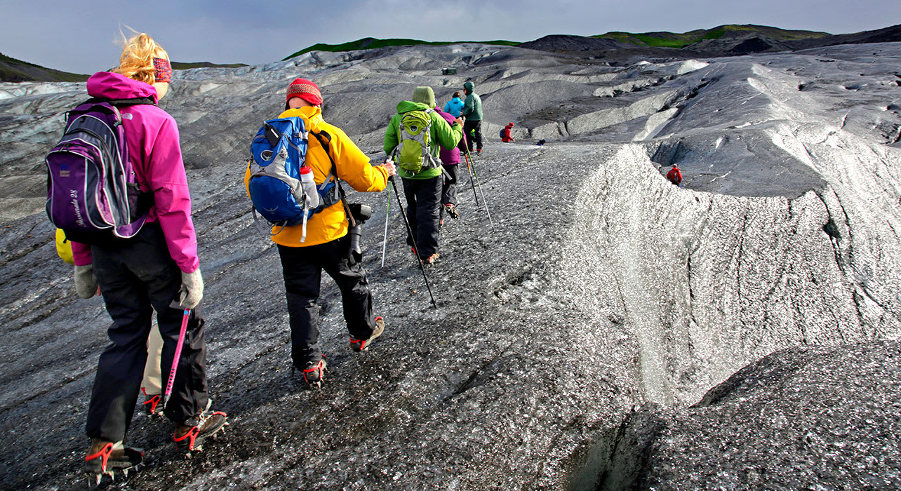 iceland hikers on glacier