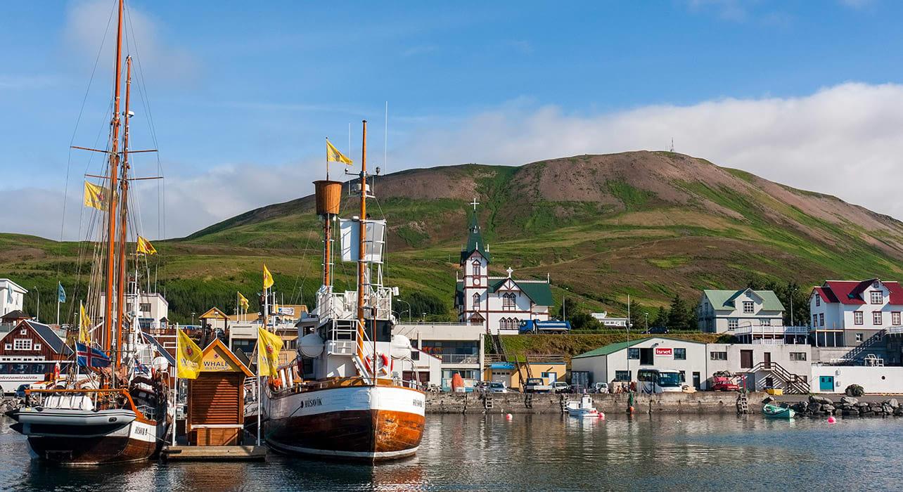 iceland husavik harbor boats