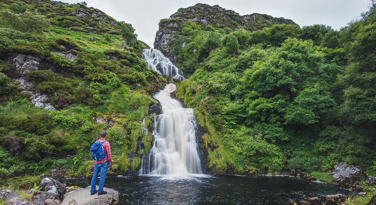 ireland hiker waterfall sligo