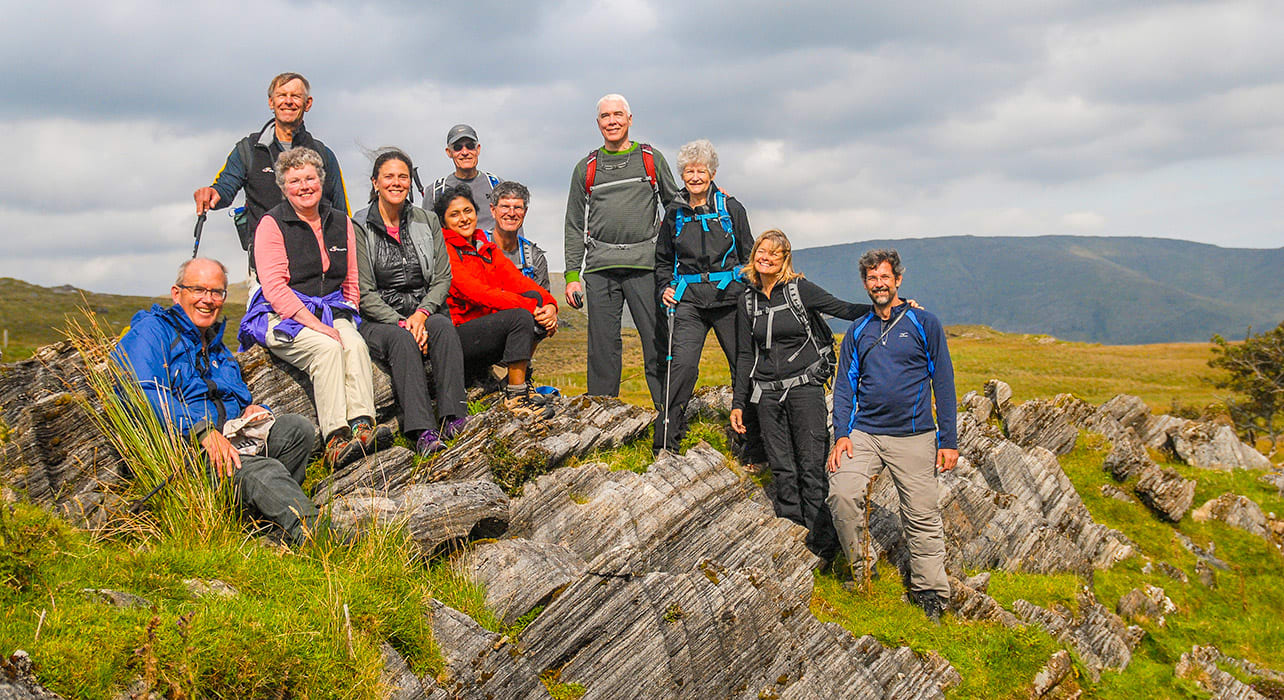 2 slide ireland connemara happy hikers pano