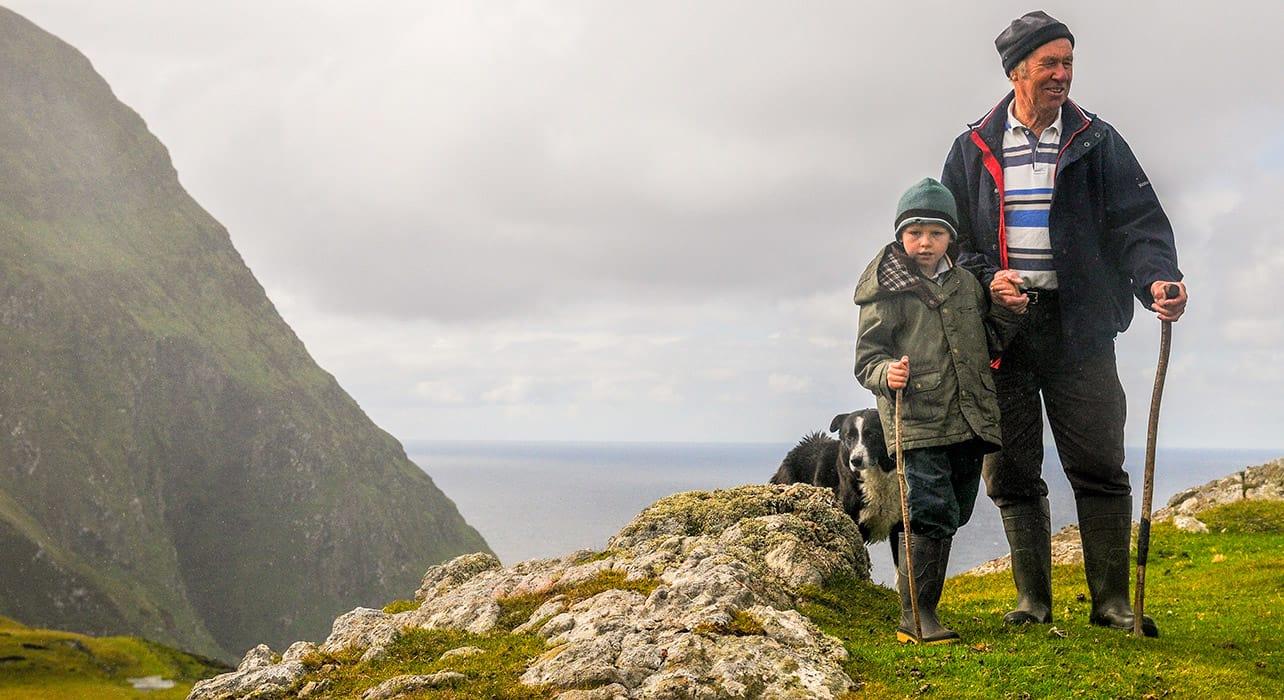 7 slideireland clare island sheep herder family dog pano