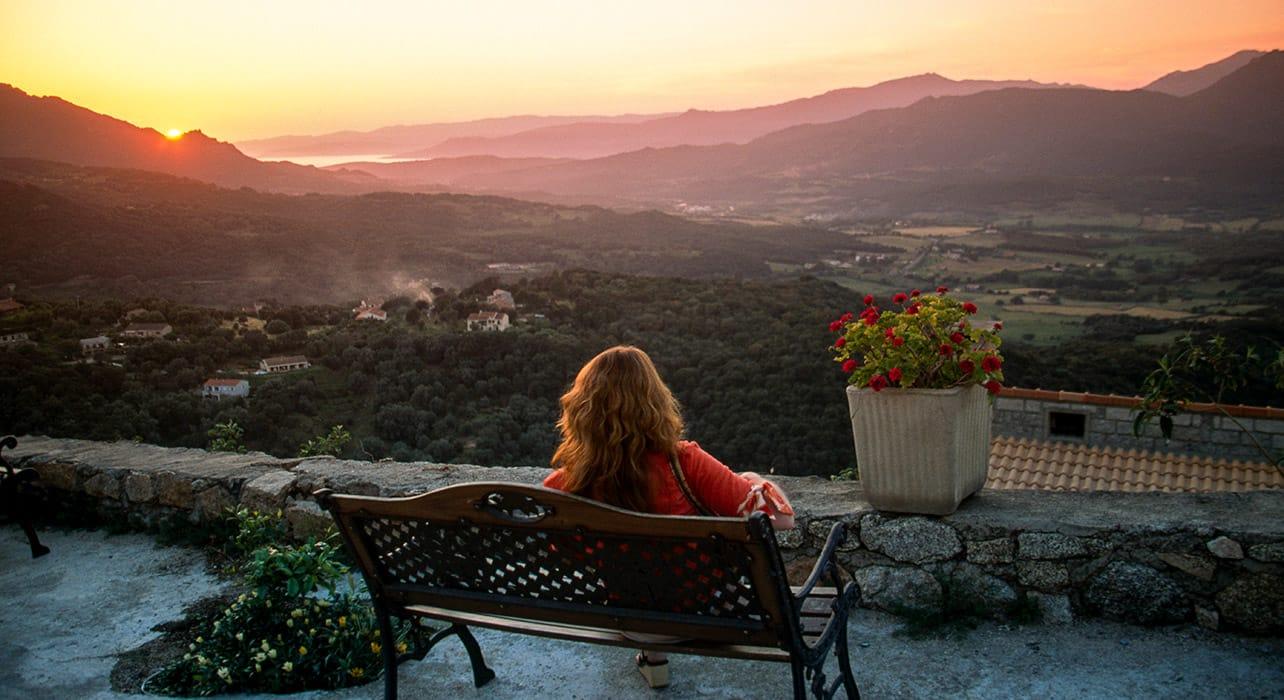 sardinia woman watching sunset