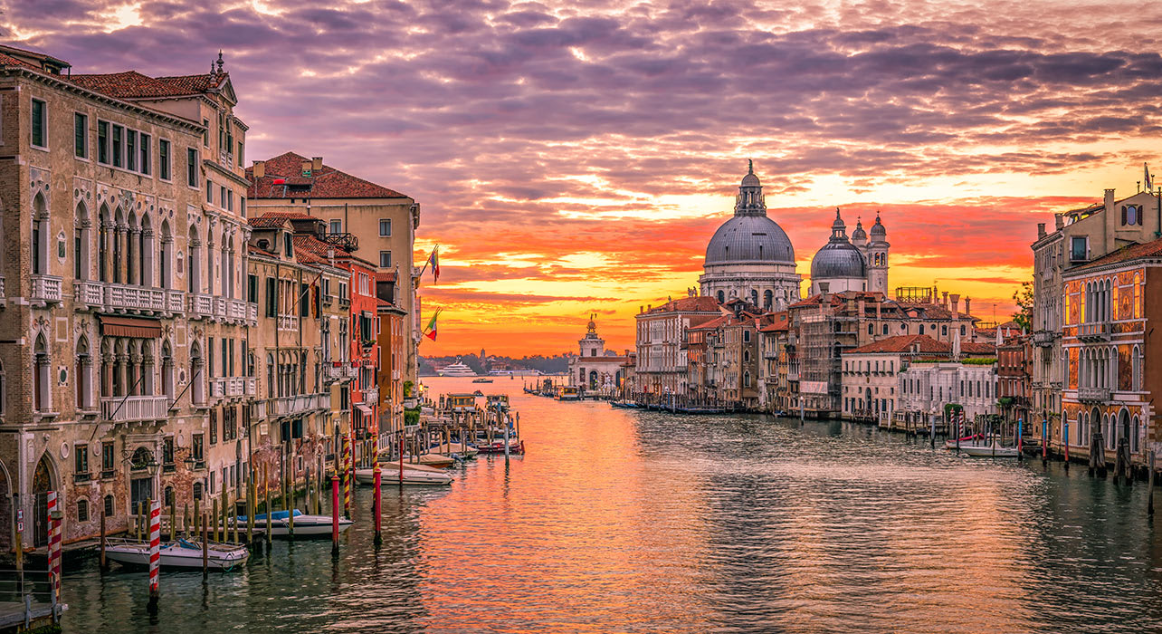 3 slide italy venice grand canal sunrise pano
