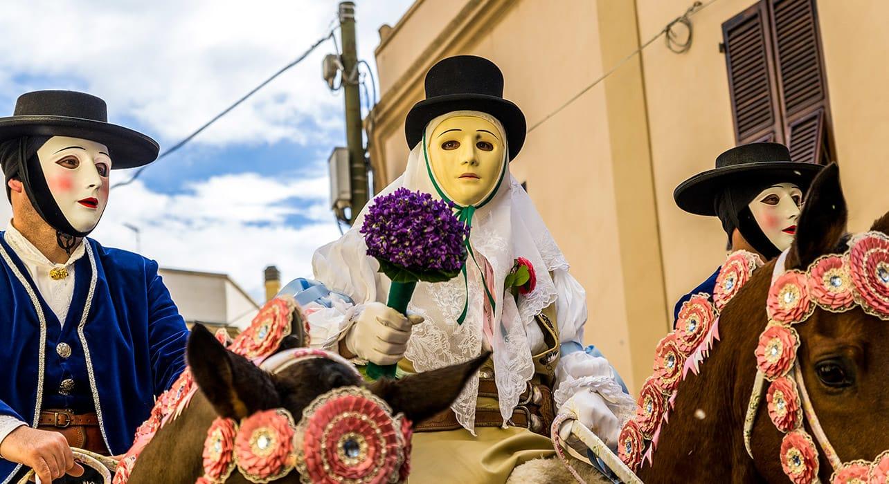 italy sardinia oristano la sartiglia traditional masks