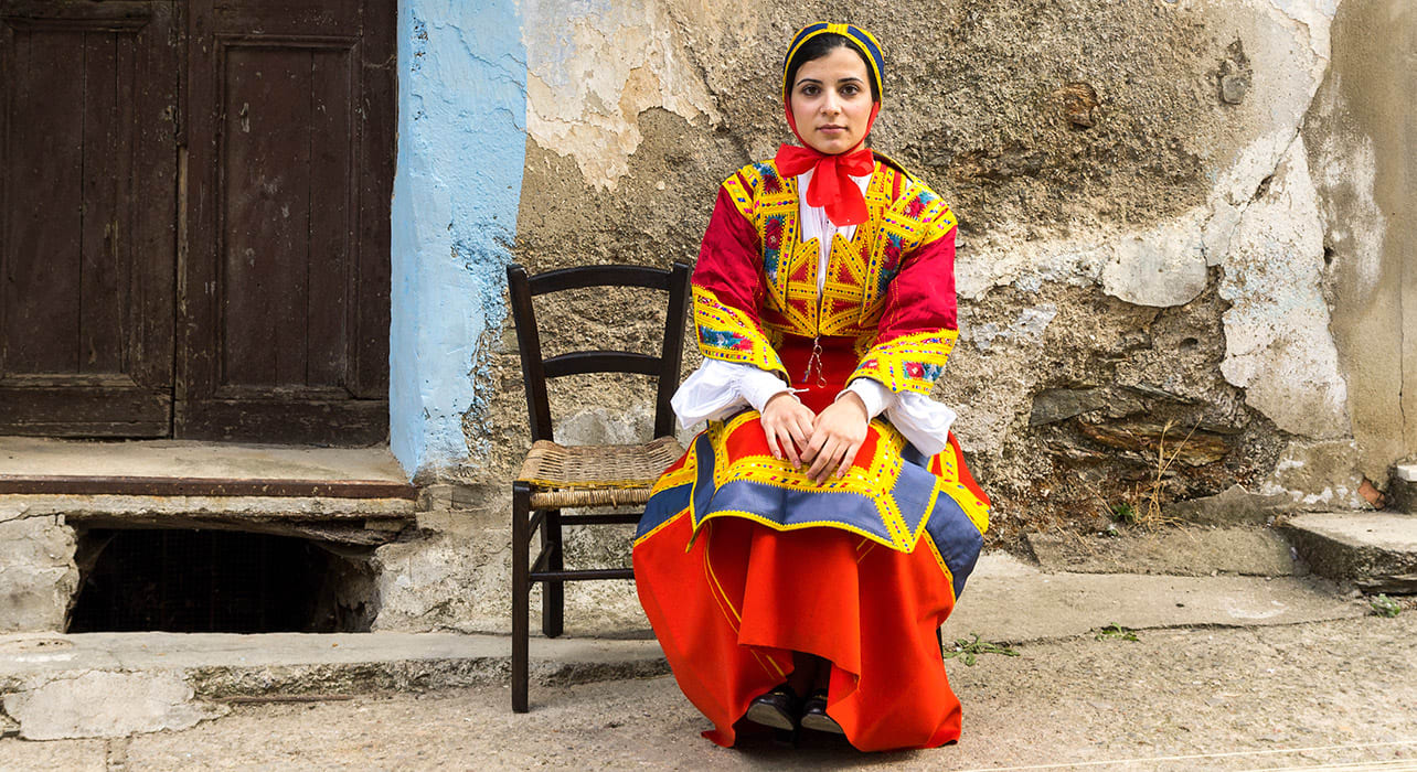 italy sardinia woman in traditional costume