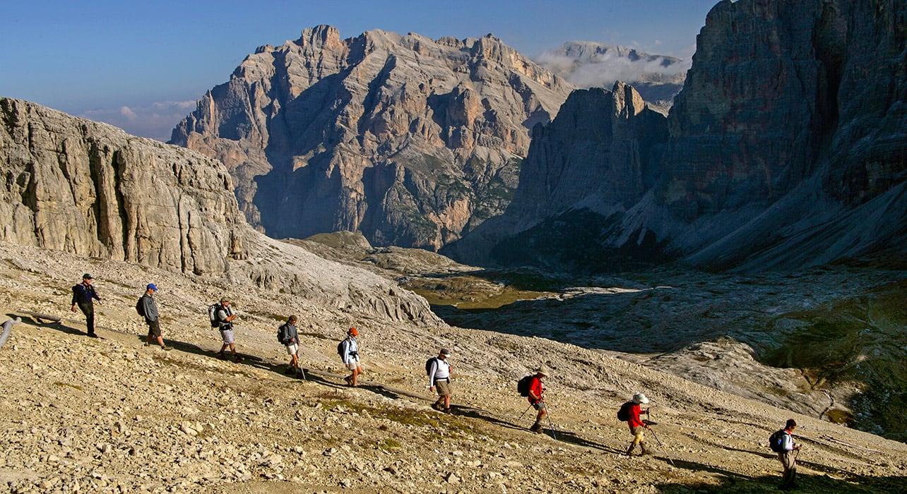 dolomites hikers rocky terraine