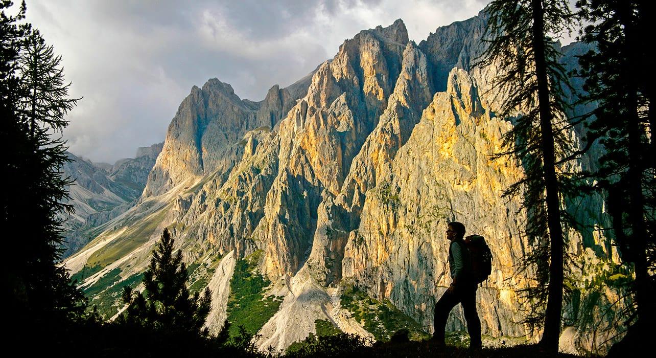 dolomites rosengarten hiker silhouette