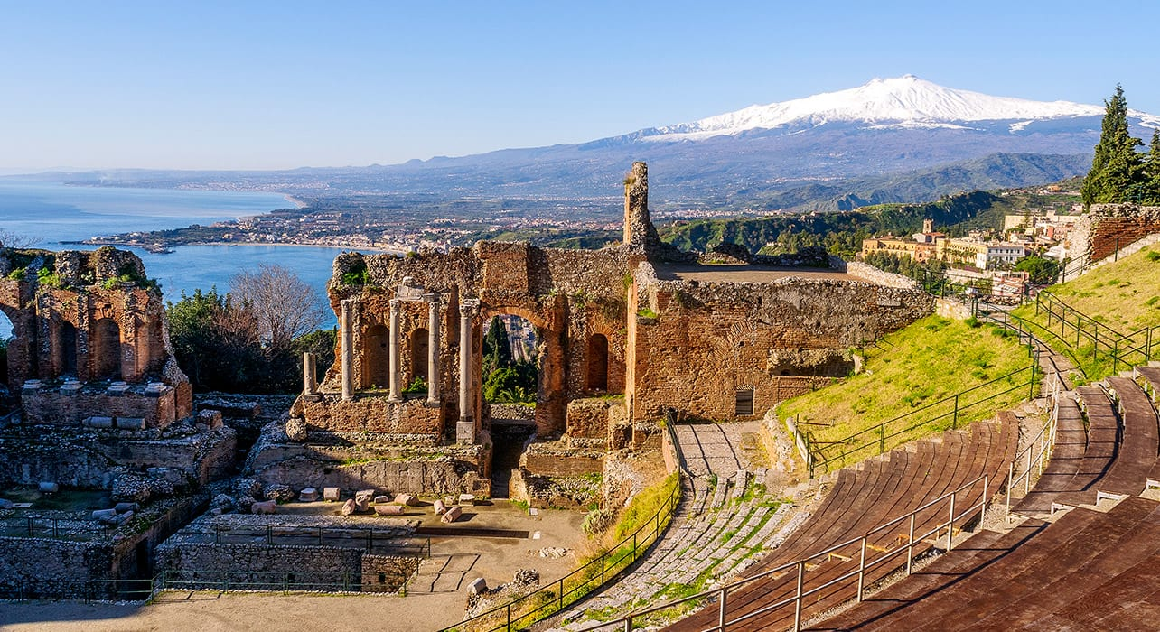 italy taormina ruins mt etna sicily