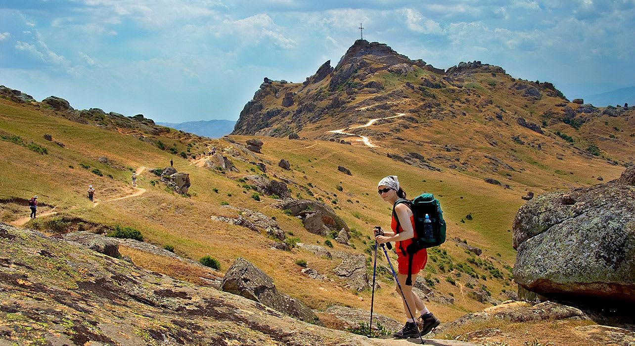 macedonia rugged trek mountain cross hiker