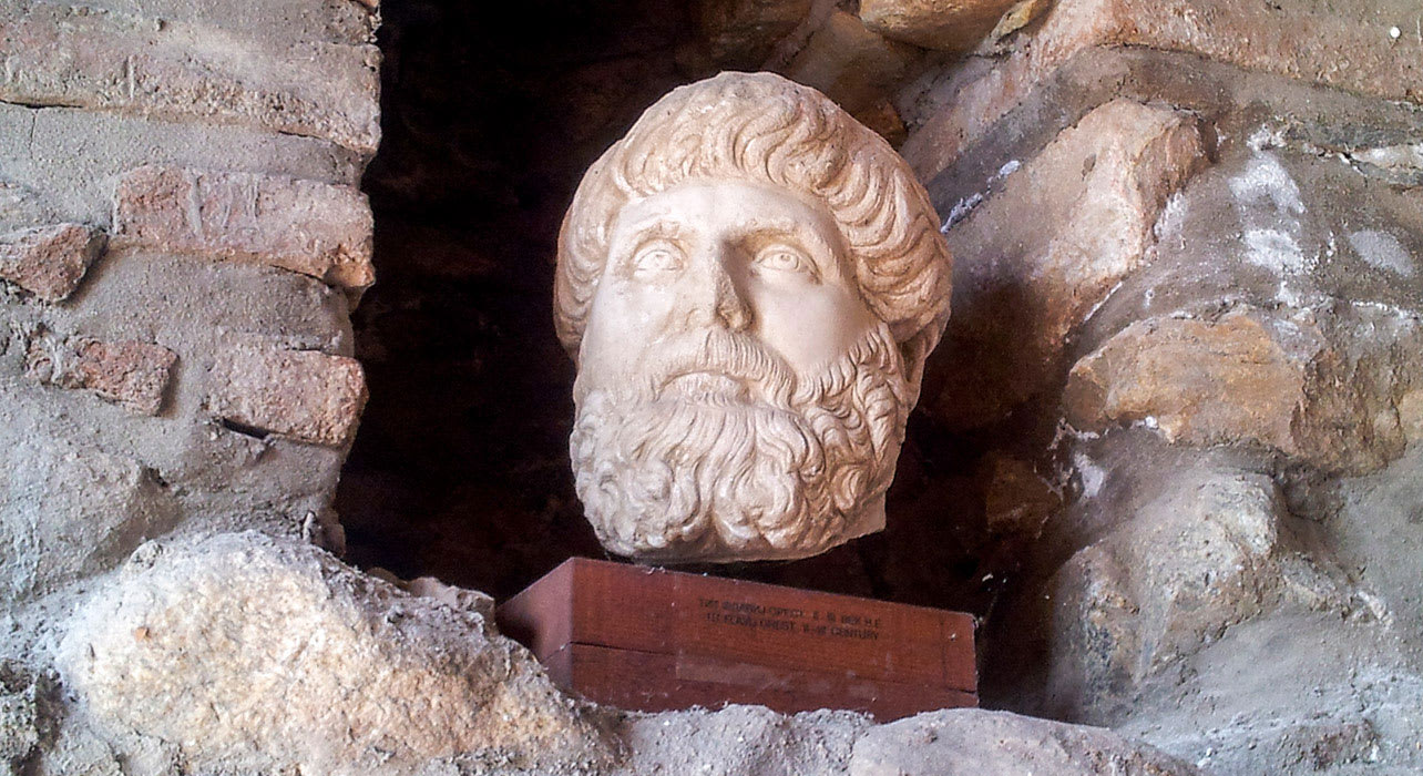 macedonia carving ancient ruins bust statue