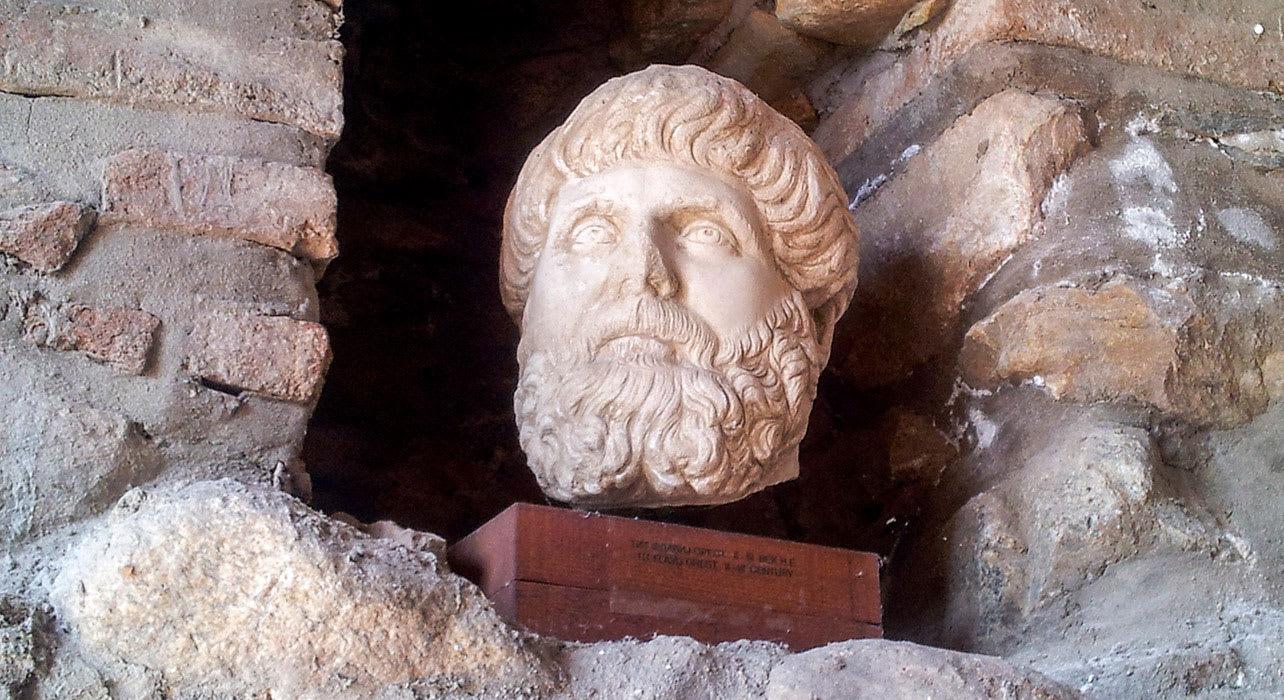 macedonia carving ancient ruins bust statue