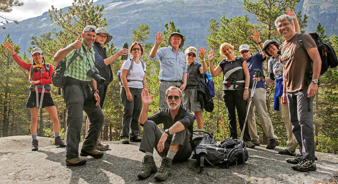 norway fjords kinsarvik group hikers