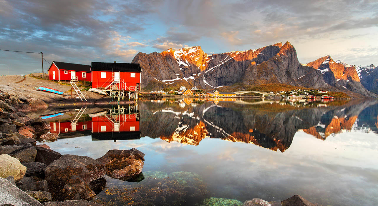 norway reine village sunset