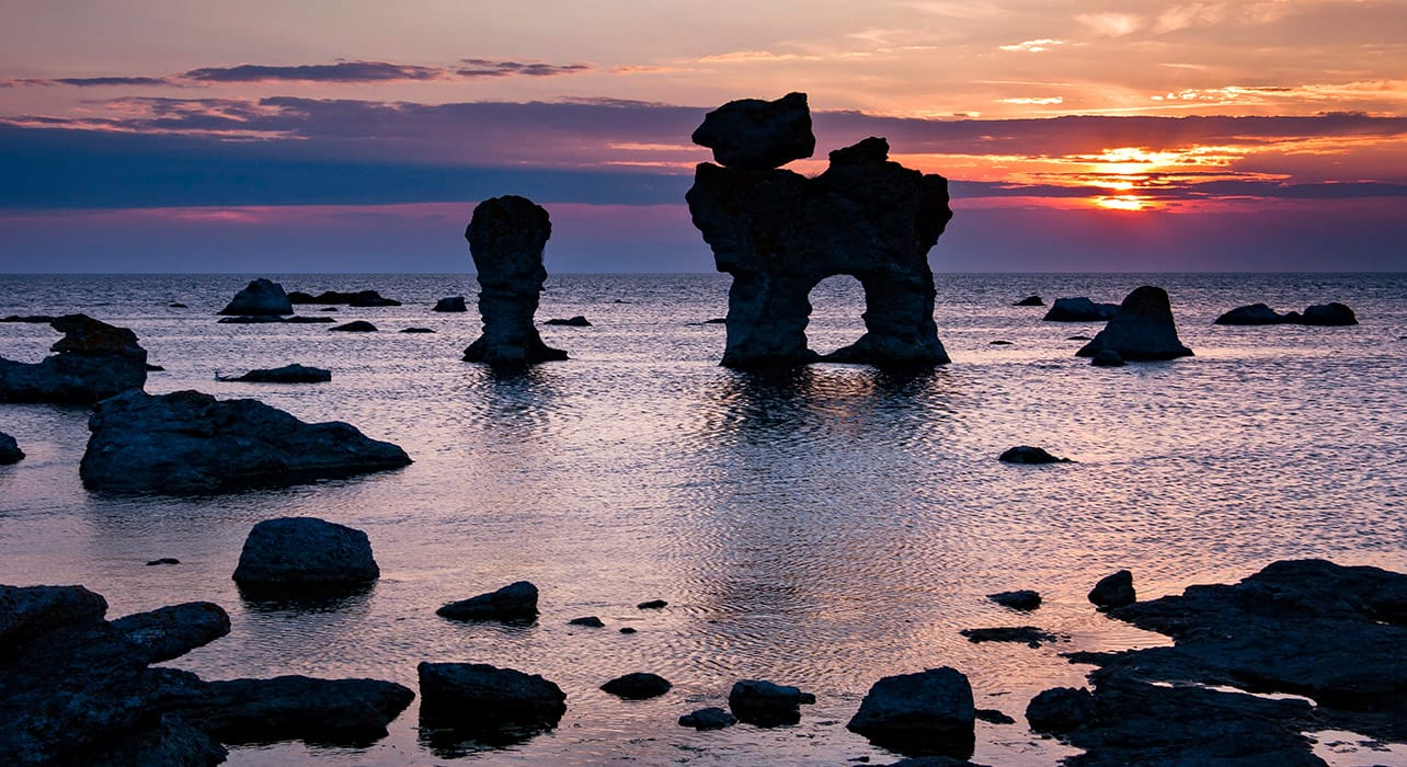 gotland island sweden sunset rock formations