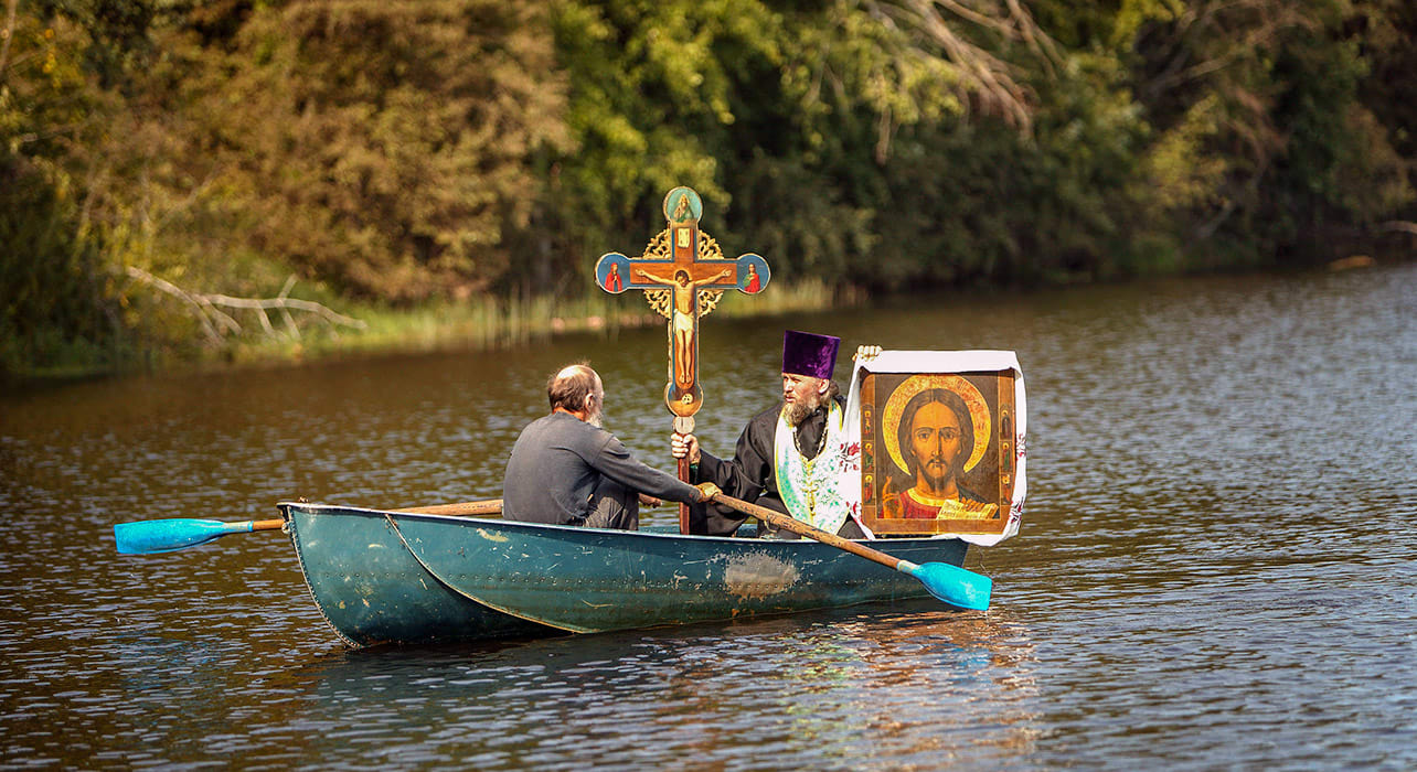 russia volgariver traditional religious ceremony