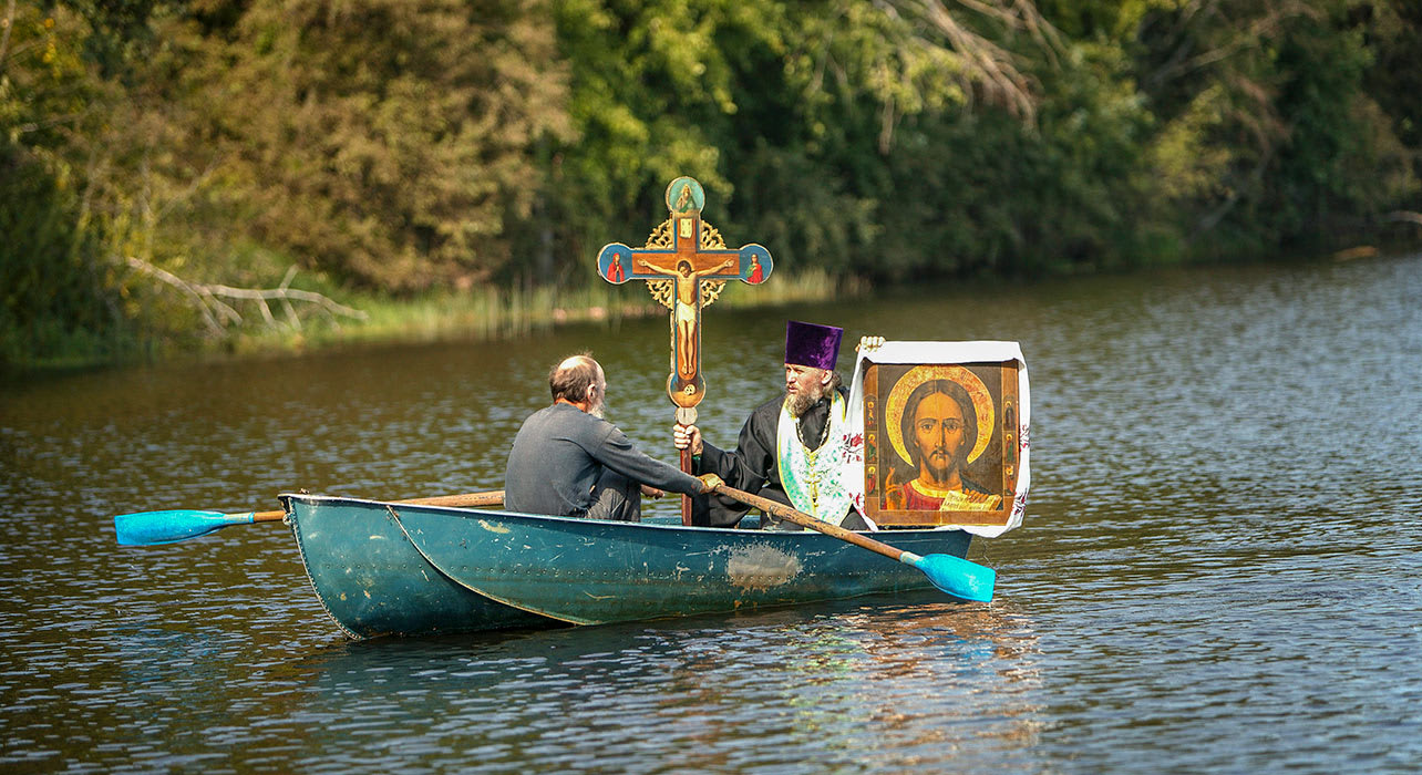 russia volga river priest art