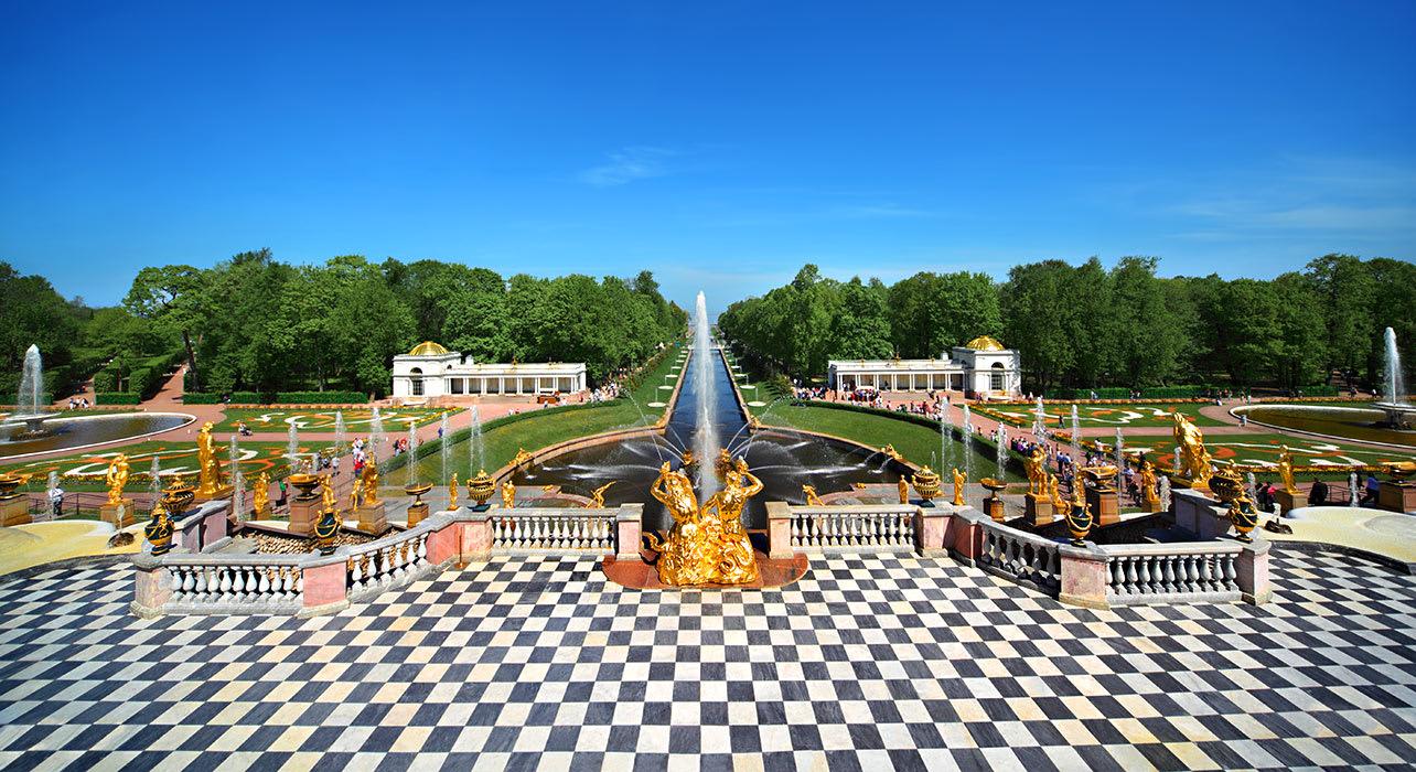 6 slide russia volga peterhof palace st petersburg pano