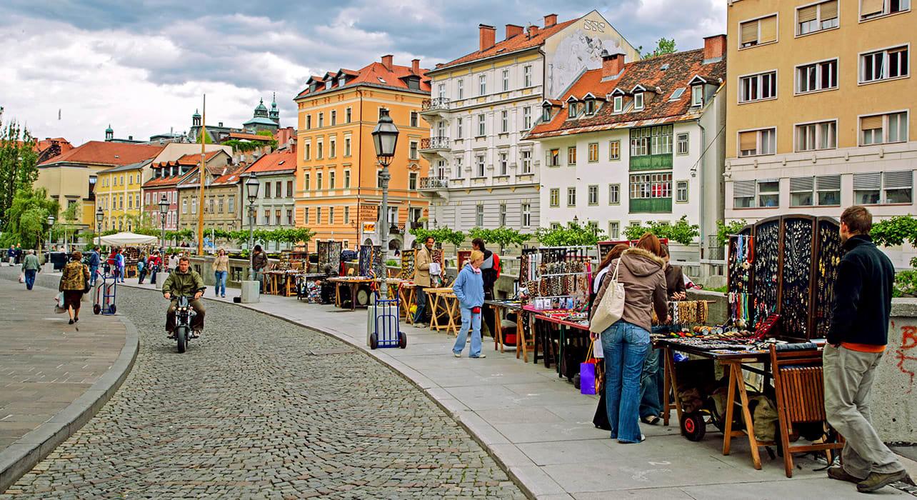 slovenia ljubljana sidewalk street vendors