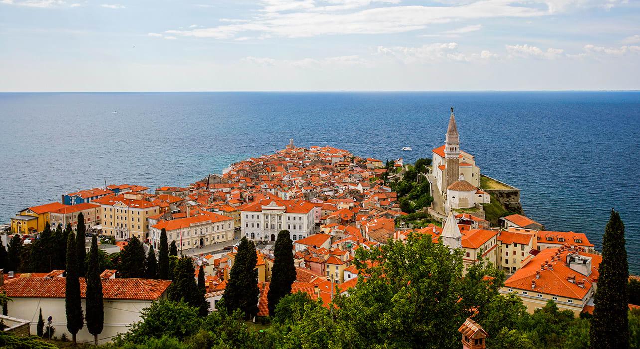 slovenia piran cityscape coast