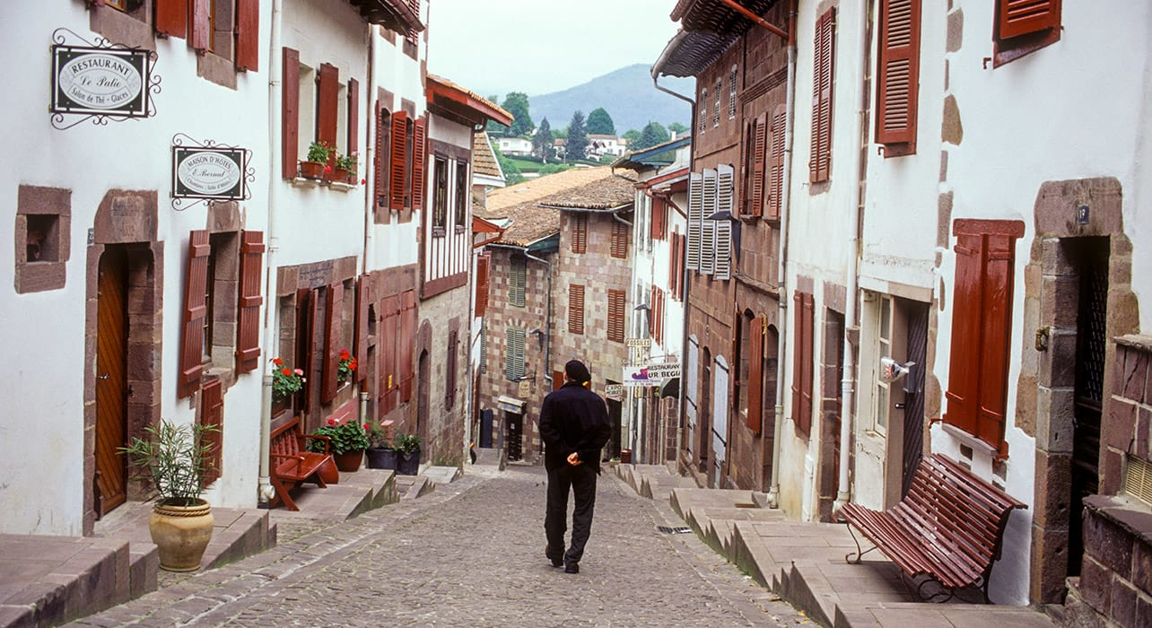 spain pilgrims way village narrow streets man