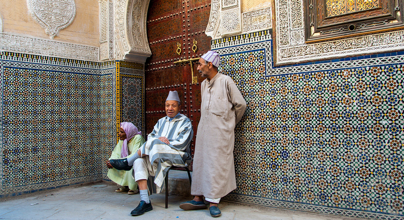 fez morocco local man tile house