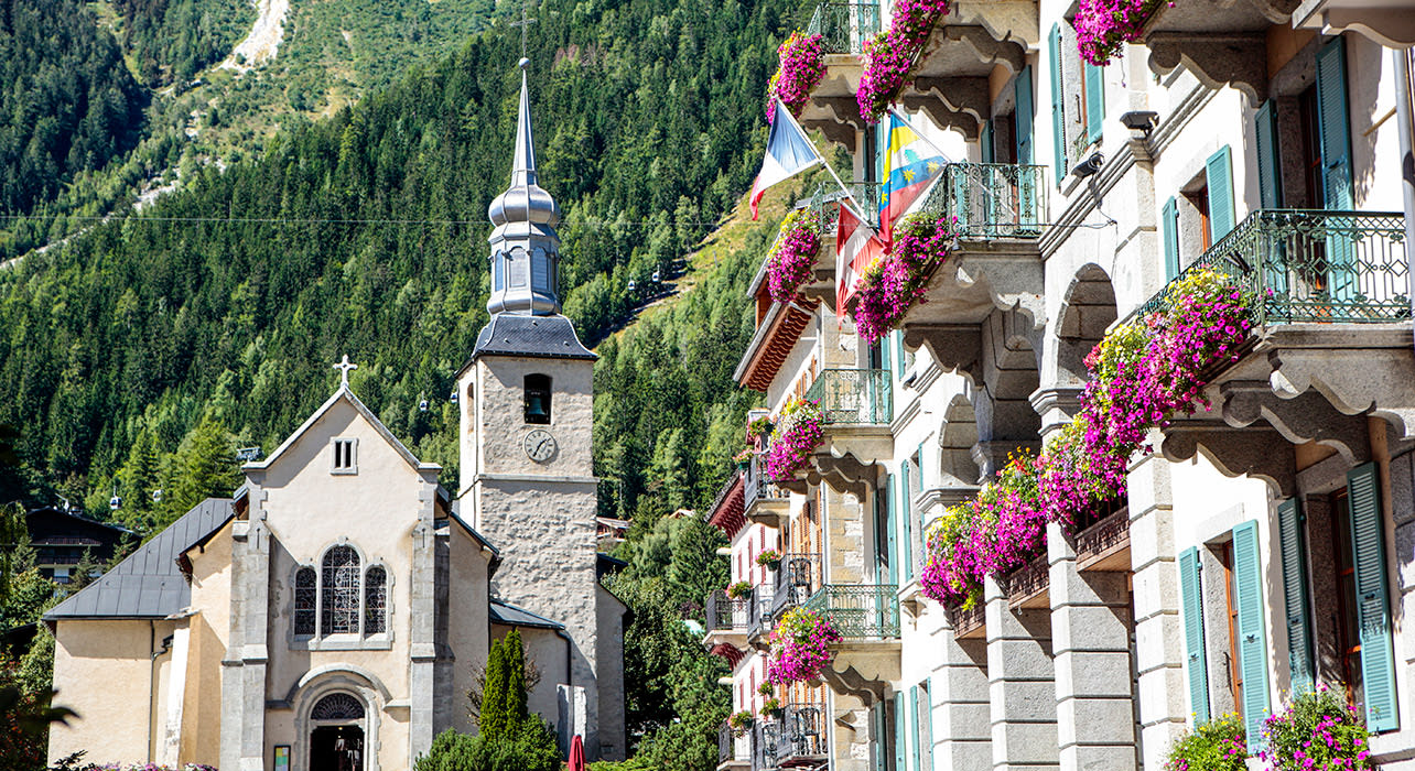 chamonix town church balconies