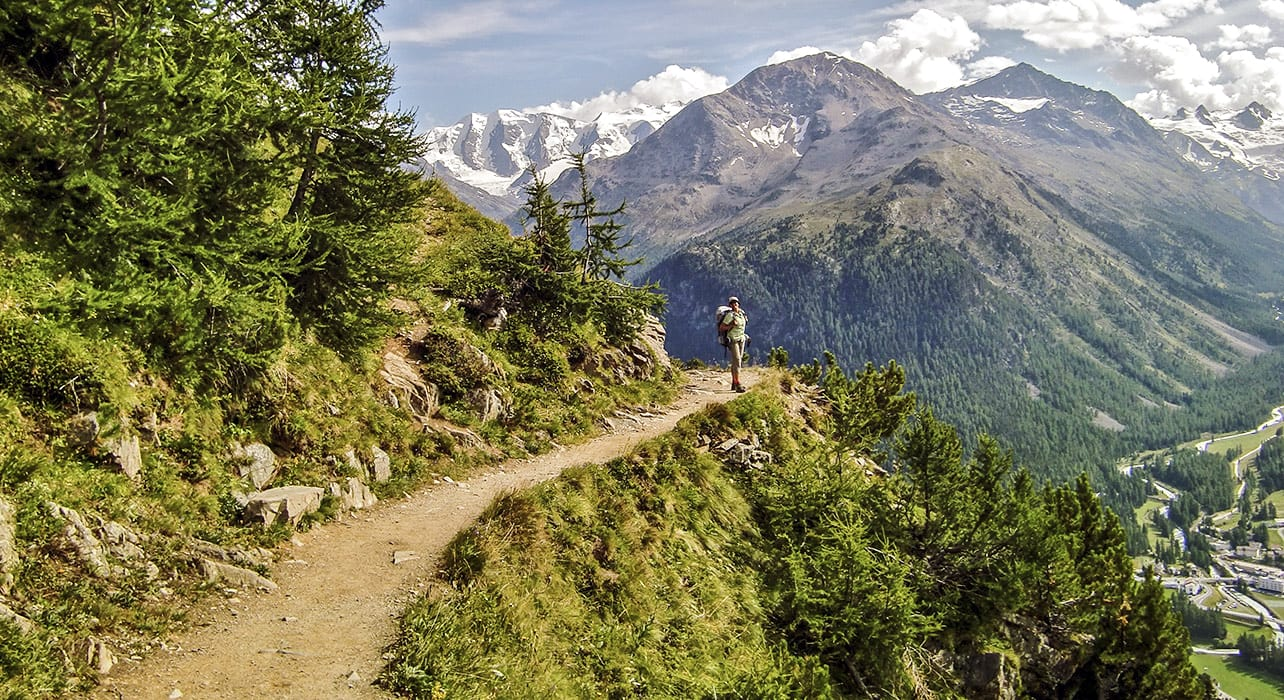 above pontresina hiker valley view
