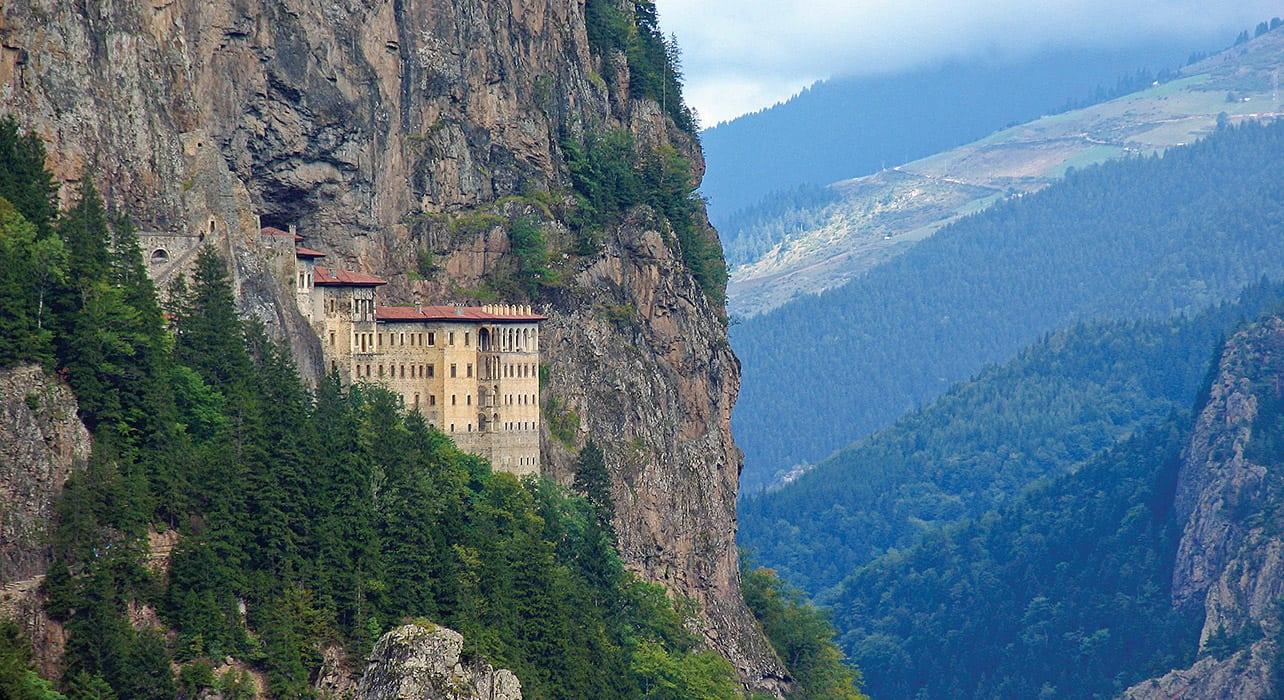 hillside castle mountain vista