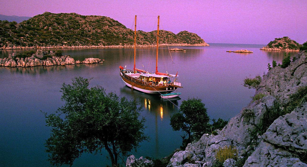 turkey the turquoise coast boat sunset