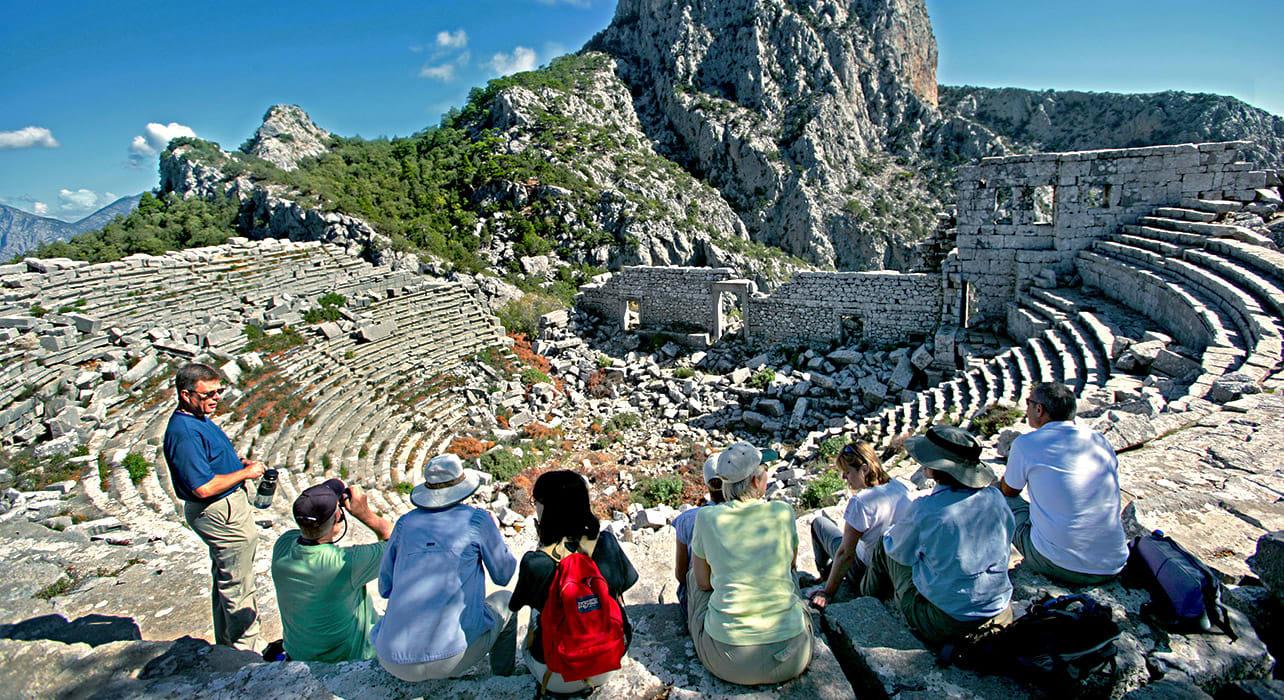 turkey amphitheater group ruins