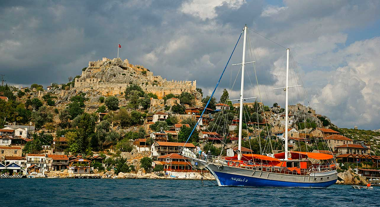 turkey turquiose coast gulet kale island castle
