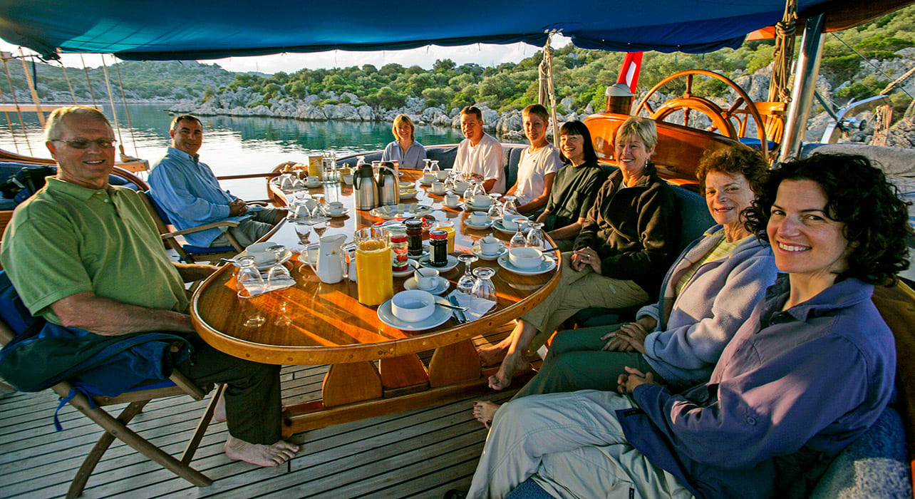 turkey happy group at table yacht