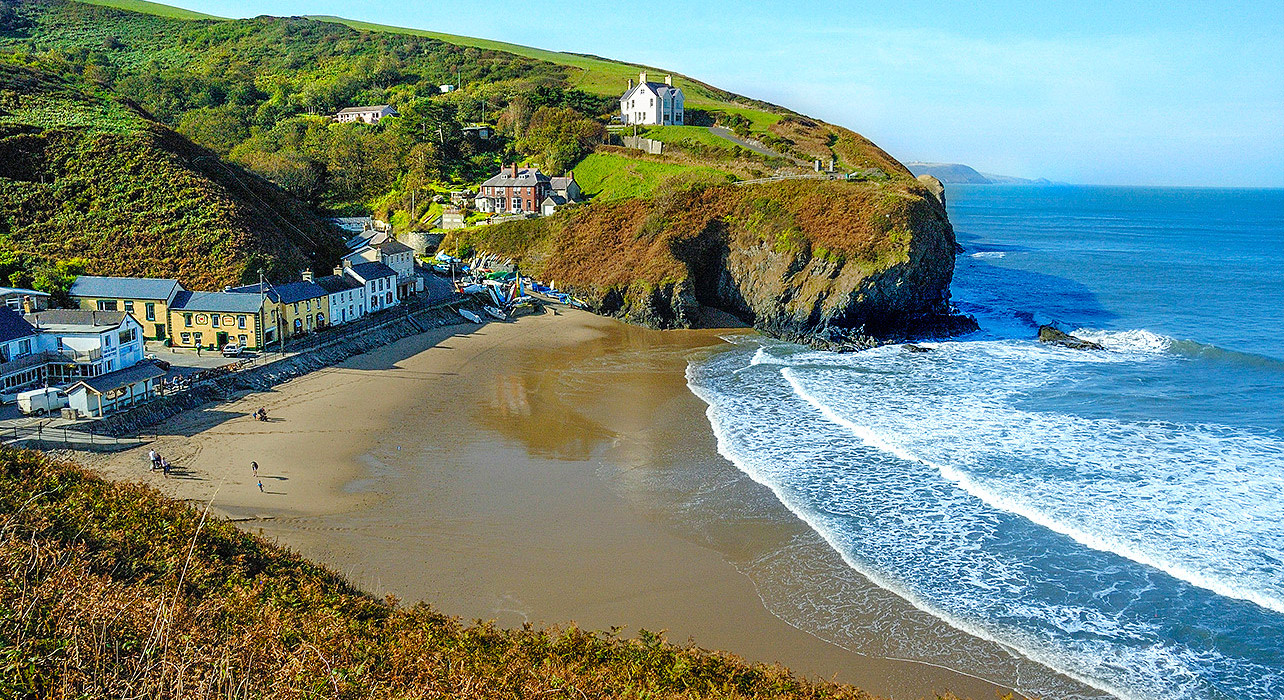 1 slide wales beach coastal village pano