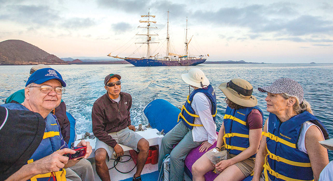 enchanted galapagos adventureres on zodiac mary anne ship