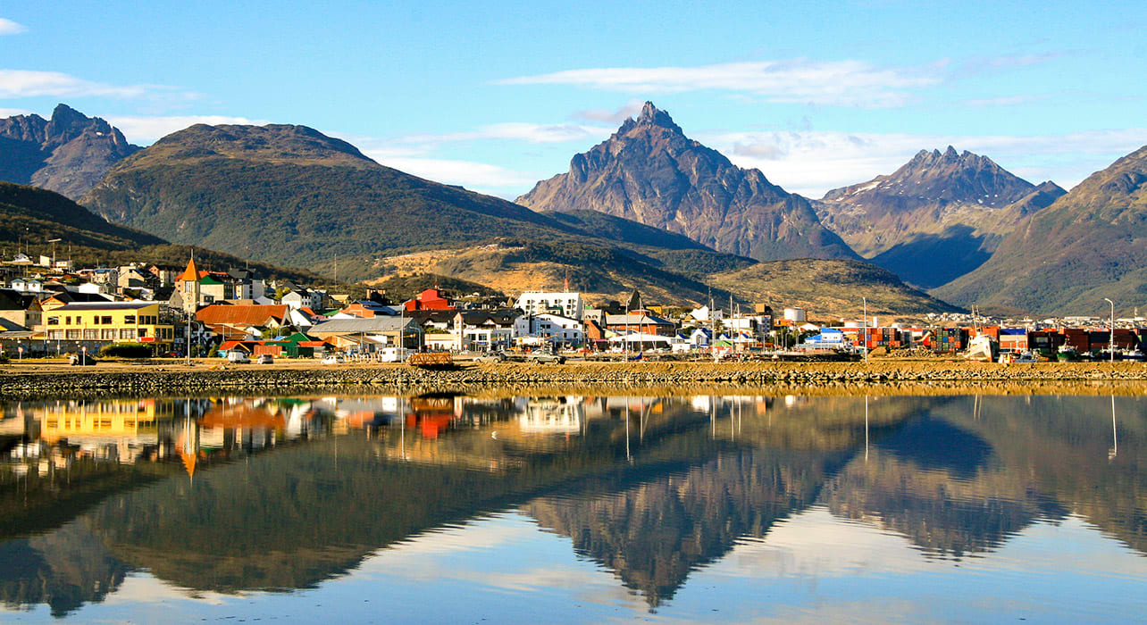 ushuaia argentina town reflection