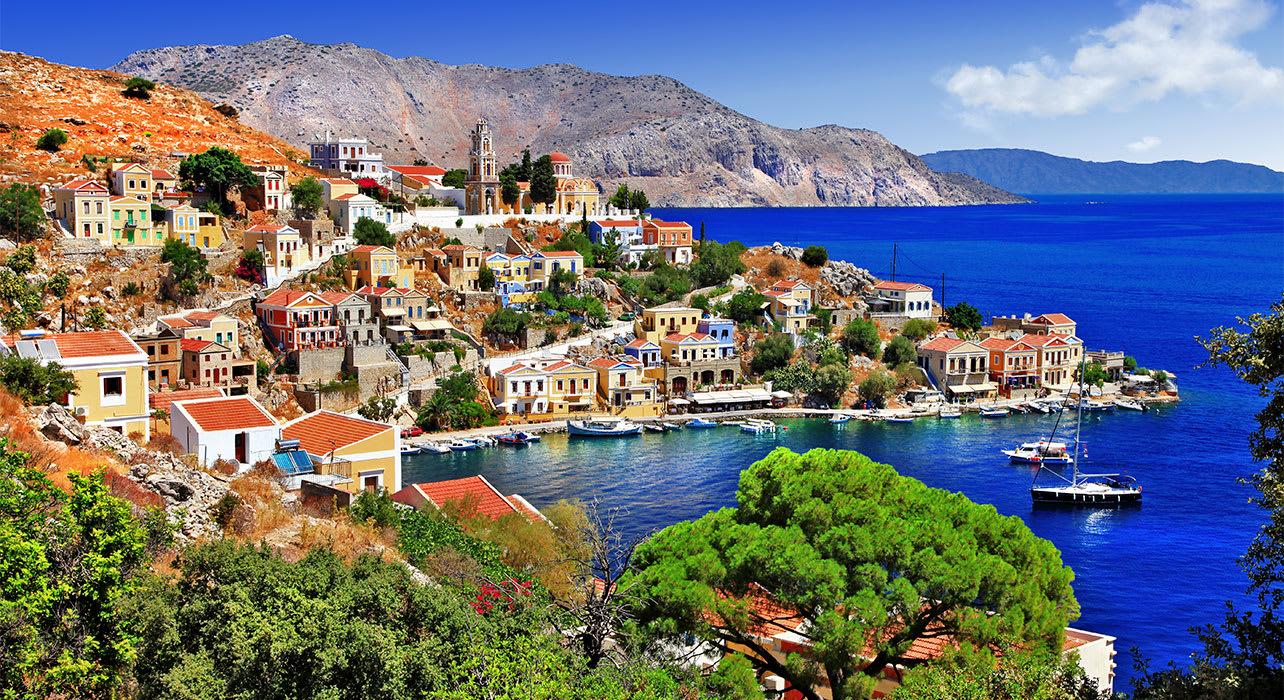 symi greece blue aegean port