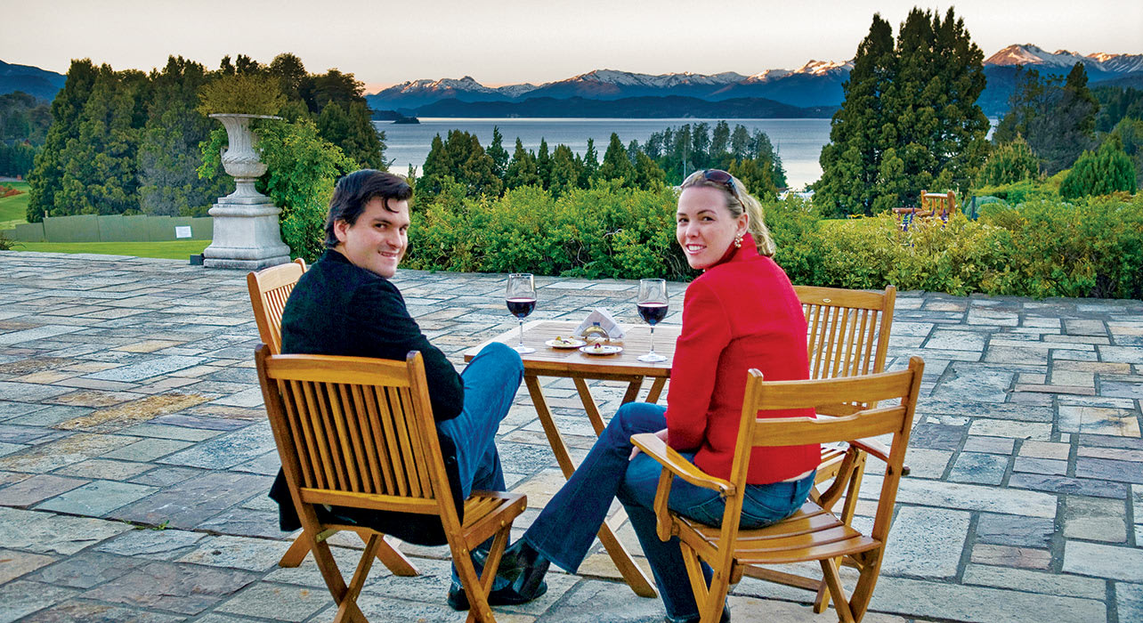 llao llao couple wine deck lake