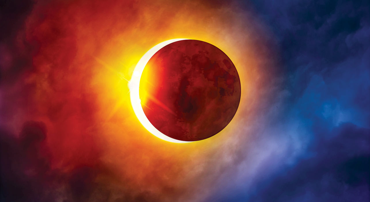 solar eclipse colorful