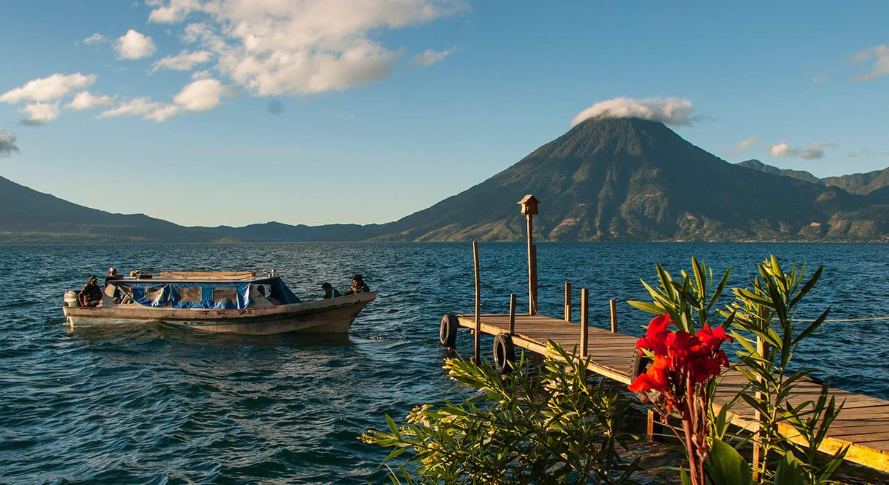 atailan lake guatemala water boat
