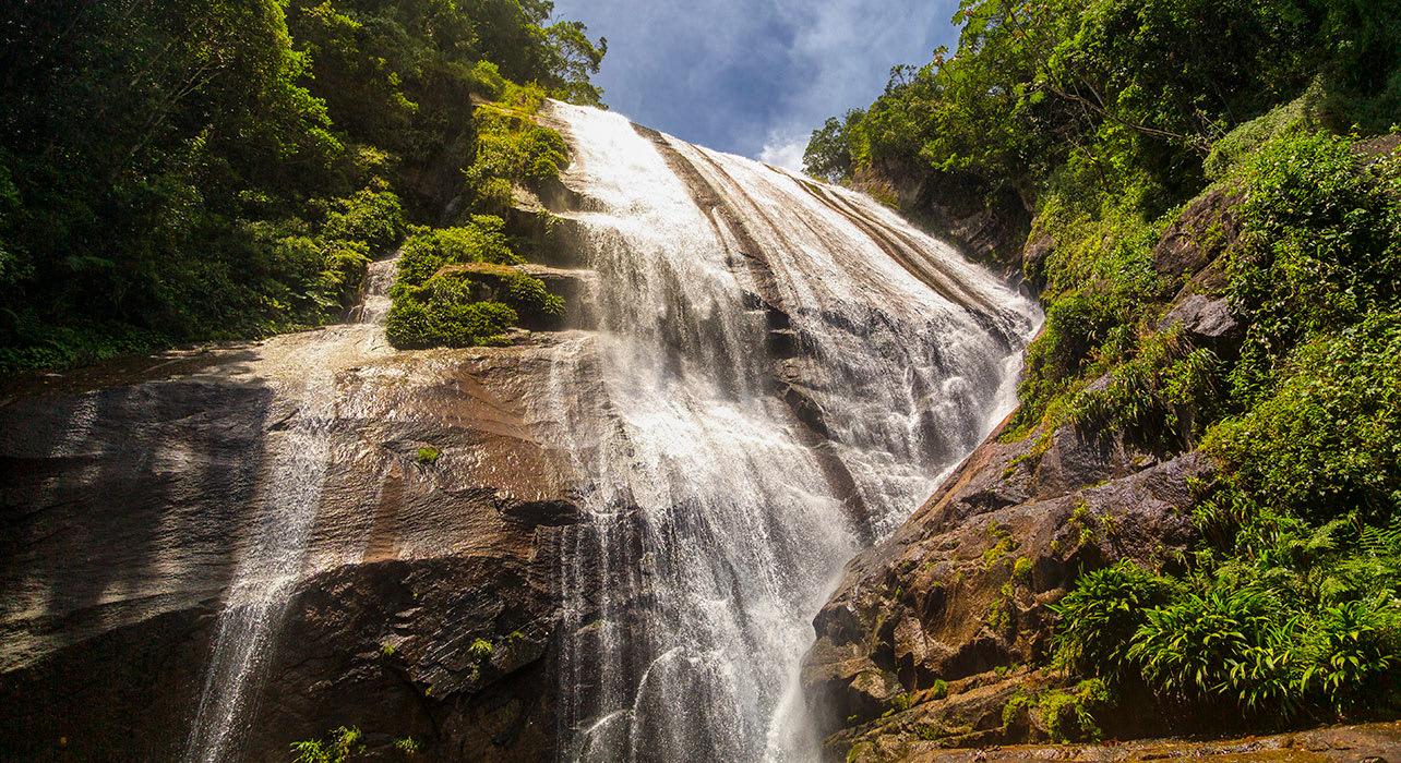 gato waterfall in ilhabela sao paulo brazil
