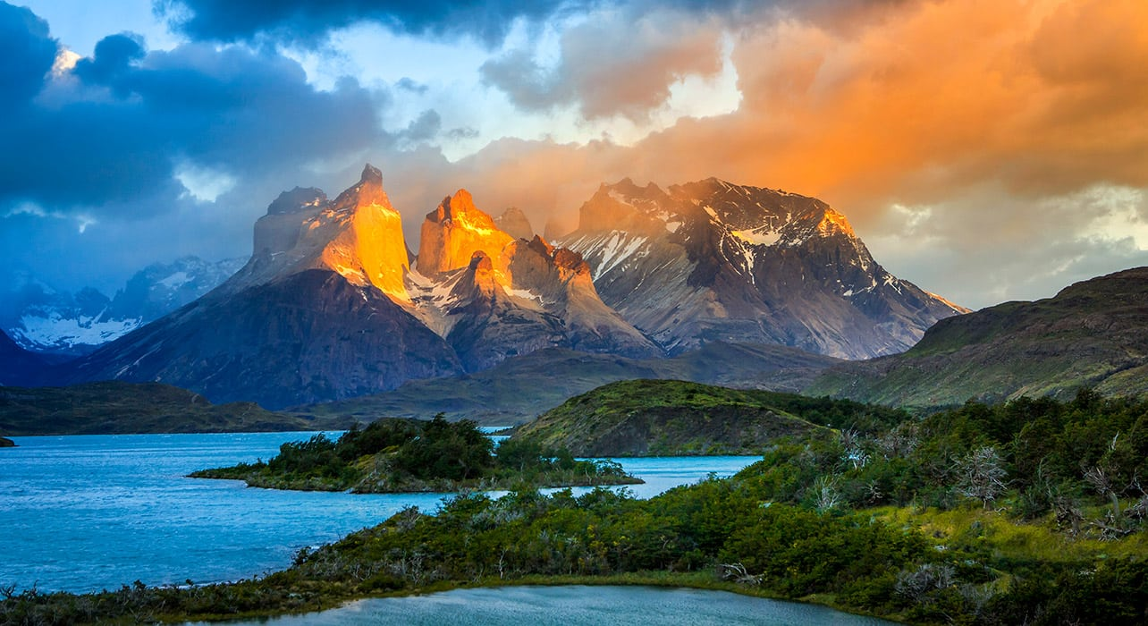 torres del paine mountains at sunset