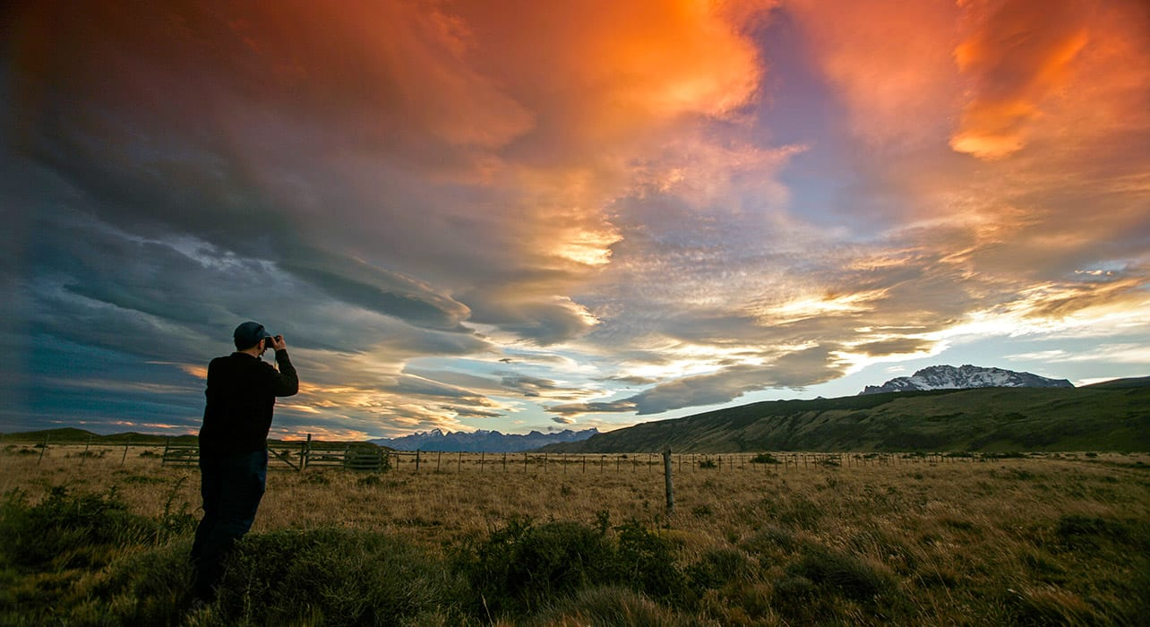 patagonia sunset man taking picture