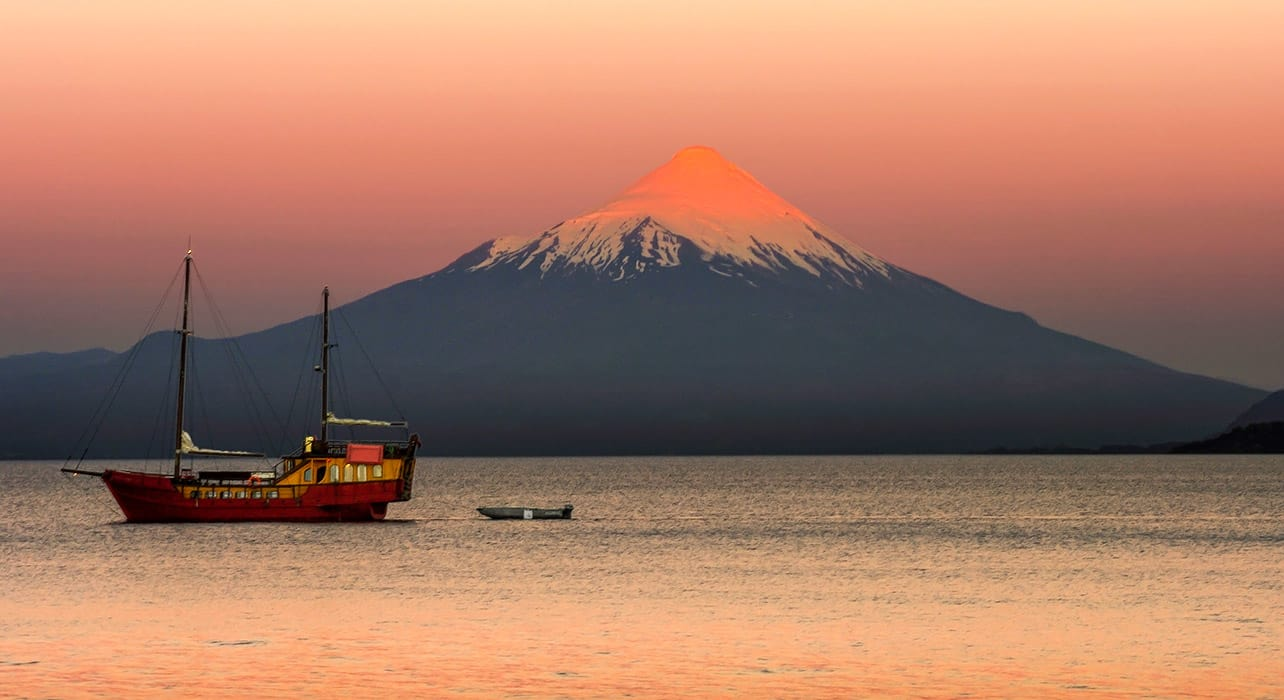 osorno volcano sunset chile lake